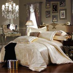 Casamento roupas de cama de luxo tributo cetim de seda jacquard jogo de cama queen size branco Noble Palácio cama conjunto de 4 peças de rou...
