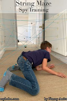 Do you have kids that love playing spys? We've been praciticing our spy skills with this string maze mission. Nanny Activities, Summer Camp Activities, Train Activities, Educational Activities, Nanny Binder, Things To Do Inside, Mazes For Kids, Team Building Exercises, Pirate Birthday