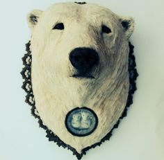 Ice Heart Polar. Textile Taxidermy Art Wall by AnnieMontgomerie