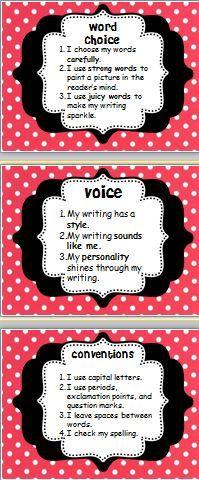 Principal Principles: Six Traits of Writing Posters Fourth Grade Writing, Kindergarten Writing, Teaching Writing, Writing Activities, Writing Resources, Teaching English, Teaching Resources, Teaching Ideas, Writing Strategies
