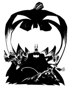 """Promotional design for """"Batman: The Long Halloween"""" by Tim Sale. The Bat-logo Pumpkin originated with the first """"Legends of the Dark Knight Halloween Special,"""" which remains one of my all-time favorite issues and stories. I was fortunate enough to get that issue signed by both Sale and writer Jeph Loeb at C2E2 2012.    This piece is just wicked cool. There aren't many who create the right mood with all the elements of Batman like Sale does."""