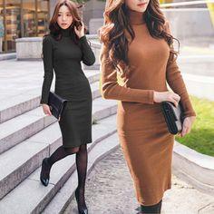 2015 осень зима новый тонкий платье водолазка с длинными рукавами длиной до колен свитер платья женская одежда черный оранжевый D40 купить на AliExpress