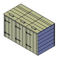 Kliko-ombouw bouwtekening voor 3 smalle kliko's
