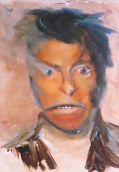 """Self Portrait"", 1996. (A Soulful Art Legacy: 25 David Bowie Paintings)"