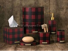 Red Plaid bathroom accessories http://www.lodgeandcabinaccessories.com/red-plaid-cabin-lodge-decor/bathroom-accessories-gallery.php#