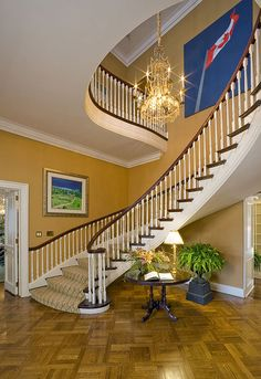 Foyer and staircase, Prime Minister's House, 24 Sussex Drive
