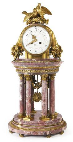 LEMERLE-CHARPENTIER & COMPAGNIE A LOUIS XVI STYLE GILT BRONZE FLEUR DE PÊCHER MARBLE PORTICO CLOCK FRANCE, LATE 19TH CENTURY