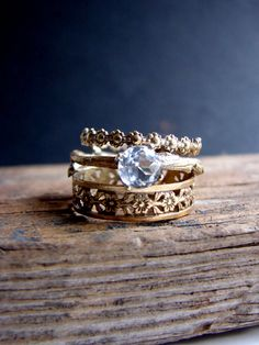 Gold Plated Stack Rings White Topaz Floral Sterling by Nafsika, $100.00