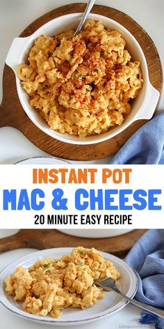 Easy one pot Instant Pot Mac and Cheese is simple to make and always a winning recipe! Have dinner on the table in 20 minutes and use left-overs for school lunch the next day. Great Dinner Recipes, Entree Recipes, Instant Pot Pressure Cooker, Light Recipes, Popular Recipes, Mac And Cheese, Us Foods, Quick Easy Meals, Family Meals