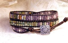 Beaded Leather Wrap Bracelet Lilac Sage Triple 22-23 Seed Bead Boho Wrap Bracelet Sage green and muted orchid with silver in tiny 8/0 seed beads to