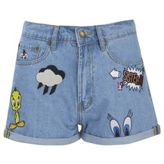 Paul & Joe Sister Women's Looney Shorts - Denim (4.090 ARS) ❤ liked on Polyvore featuring shorts, blue, embroidered shorts, denim short shorts, blue denim shorts, zipper shorts and jean shorts