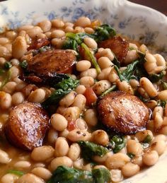 White Beans with Spinach & Sausage. This is such an easy recipe to put together.