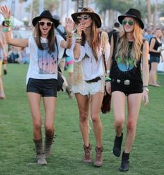 Ready for Lollapalooza... outfit inspiration - like the far left and far right outfits