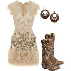 A fashion look from February 2012 featuring v neck lace dress, earring jewelry and cowboy boots. Browse and shop related looks.