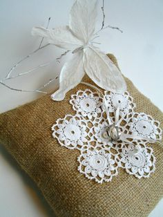 Ring Bearer Pillow with Burlap and  Handcrocheted  Vintage Doily  And Pearls, Upcycled, Altered art, ecofriendly via Etsy