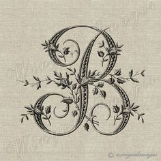 Antique French Monogram Letter B Instant Download by WingedImages, $1.00