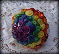 Rainbow button bouquet