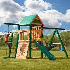 Swing-N-Slide PB 8320 Trekker Play Set - Let your children live out every adventure right at home with the Swing-N-Slide Trekker Play Set . This fun-never-stops play set features a green two-piece. Home Depot, Best Swing Sets, Cedar Swing Sets, Outdoor Play Structures, Outdoor Play Equipment, Wooden Playset, Swing And Slide, Kids Outdoor Play, Build A Playhouse