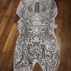 Stencil all ready for tomorrow session. Full Body Tattoo, Body Art Tattoos, Sleeve Tattoos, Japanese Dragon Tattoos, Japanese Tattoo Art, Foo Dog Tattoo Design, Sugar Tattoo, Dragon Tattoo Back Piece, Japan Tattoo