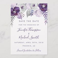 Shop Purple and Silver Watercolor Floral Save the Date created by Eyestigmatic_Design. Purple Wedding Invitations, Gold Invitations, Save The Date Invitations, Watercolor Invitations, Wedding Invitation Cards, Save The Date Cards, Wedding Cards, Invites, Rustic Wedding Save The Dates