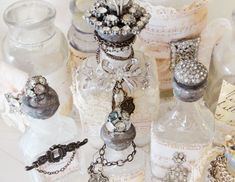 Vintage bottles AND diamantes - two of my favourite things *swoon* Altered Bottles, Antique Bottles, Vintage Bottles, Bottles And Jars, Glass Bottles, Perfume Bottles, Mason Jars, Vintage Jewelry Crafts, Vintage Costume Jewelry
