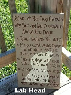 Rules for Non Dog Owners Sign - Hand Painted Wooden Sign - Pets - Non Pet Owners - Lab Head - Labrador Retriever - Wood Dog Decor. for Pets. Read more details by clicking on the image. Painted Wooden Signs, Hand Painted, Wood Dog, Dog Rooms, Labrador Retriever Dog, Labrador Puppies, Dog Quotes, My New Room, Dog Owners