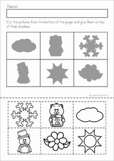 Groundhog Day Preschool Math and Literacy No Prep worksheets and activities. A page from the unit: shadow match cut and paste