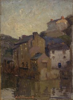 """""""Polperro, Cornwall,"""" Alfred Vance Churchill, 1906, oil on canvas board, 8 5/8 x 6 3/8"""", Smith College Museum of Art."""