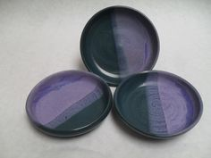 """Small Cat Dishes - ~4"""" diameter and 1"""" tall -Lavender/Teal"""