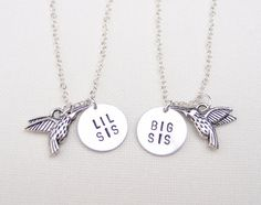 Big Sis Lil Sis necklaces, set of two hummingbird necklace , sisters jewelry, matching necklaces for sisters, hummingbird charm, love gift
