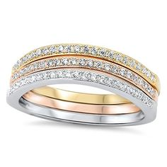 Stackable Set Rose Gold-Tone White CZ Ring .925 Sterling Silver Band Size 8 (RNG14751-8) -- Details can be found by clicking on the image.