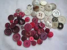 Colorful Red and White Button Mix  50pcs by GraphikMania on Etsy, $2.00