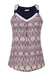 tank with ethnic patterned chiffon front in blue jasmine - maurices.com