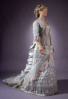 Dress worn by a Baroness to a wedding in 1882.  There must be a hundred hours worth of sewing invested in this number.