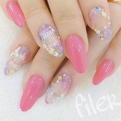 cool #pink #clear #nails...