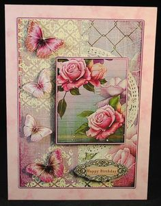 Cardtopper with matching envelope soft pink rose 785 on Craftsuprint designed by Gertraud Lueckel - made by Yvonne Middleton - Printed on 125 gsm gloss paper, I cut out all of the elements and decoupaged using foam pads, I then mounted the image onto the card and inserted the insert using dst. This is a beautiful design. - Now available for download!