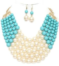 Pearl Bib Necklace Set - Turquoise