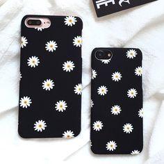 Ultra tipis Frosted Lucu Daisy Bunga Kasus Untuk iphone 7 Kasus indah Kartun Floral Kembali Penutup Telepon Kasus Keras Untuk iphone7 7 ditambah