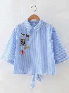 Shop Blue Stripe Knotted Back Applique Blouse online. SheIn offers Blue Stripe Knotted Back Applique Blouse & more to fit your fashionable needs.