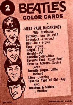 The Beatles Color Cards: Meet Ringo Starr Ringo Starr, George Harrison, Paul Mccartney, John Lennon, Liverpool, The Ed Sullivan Show, Sir Paul, She Loves You, Beetles