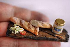 Sandwich in the making on rustic board. Dollhouse miniature by Christel Jensen