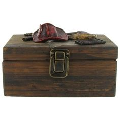 This Wooden Box would make a great gift for your favorite firefighter to store keys, coins and so much more in a safe and decorative way. The box measures appro Firefighter Family, Firefighter Wedding, Firefighter Birthday, Firefighter Decor, Art Craft Store, Craft Stores, Fireman Nursery, Fire Truck Room, Helmet Shop