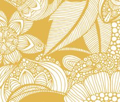 Rachel (mustard and white light) fabric by valentinaharper on Spoonflower - custom fabric