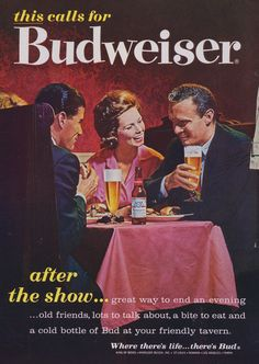 1962 Budweiser Beer Ad \
