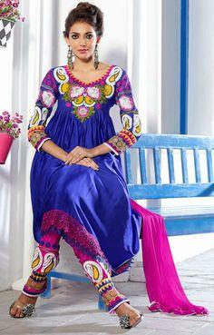 USD 101.54 Blue Satin Designer Resham work Anarkali Salwar Suit 27447
