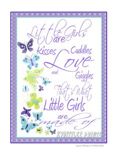 NOJO Beautiful Butterflies Baby Nursery Child's Quotes Room Wall Art Decor 'That's What Little Girls Are' Poem Print