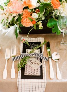 Black, white and orange placesetting