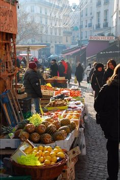 Rue Mouffetard Market in the Latin Quarter, Paris.I love going out every day and purchasing only what I need that day at market- I learned to do that in Paris :)