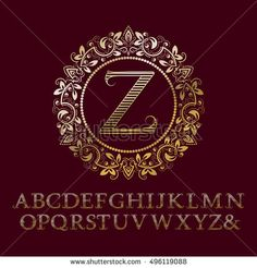 Stripy gold #letters with Z initial #monogram. Baroque style #font for #logo #design. Isolated english vintage #alphabet.