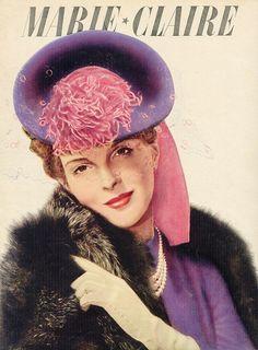 Vintage pink and purple tilt hat elegance.